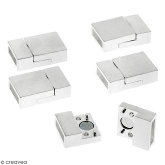 Lot de fermoirs aimantés - rectangle - 2 x 1,3 cm - Argenté - 5 pcs