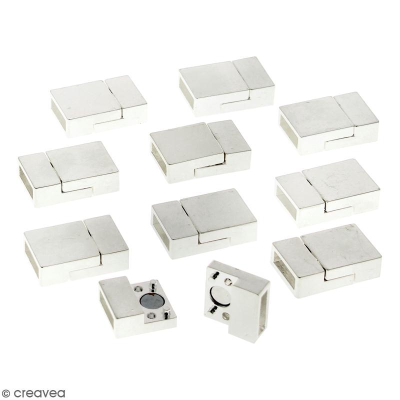 Lot de fermoirs aimantés - rectangle - 2 x 1,3 cm - Argenté - 10 pcs - Photo n°1