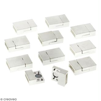 Lot de fermoirs aimantés - rectangle - 2 x 1,3 cm - Argenté - 10 pcs