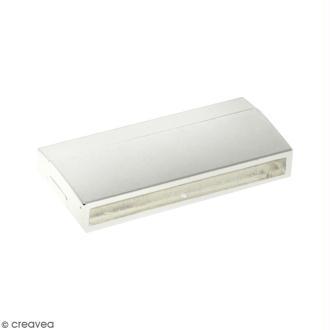 Fermoir aimanté - rectangle - 4,2 x 1,9 cm - Argenté - 1 pce