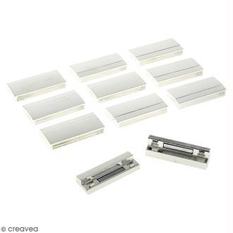 Lot de fermoirs aimantés - rectangle - 4,2 x 1,9 cm - Argenté - 10 pcs