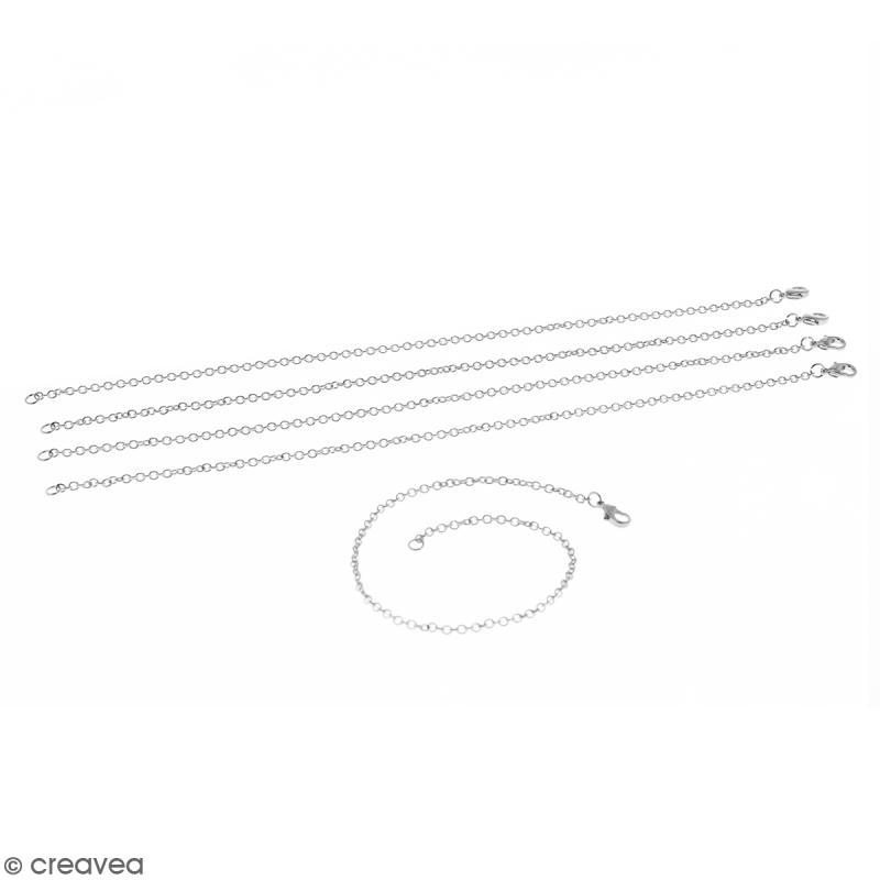 Lot de chaînes de bracelet - 19,5 cm - Argenté - 5 pcs - Photo n°1