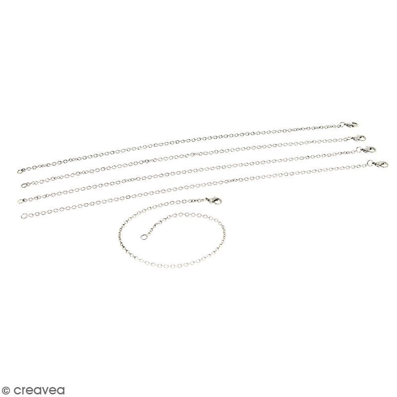 Lot de chaînes de bracelet - 21 cm - Argenté vieilli - 5 pcs - Photo n°1