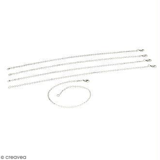 Lot de chaînes de bracelet - 21 cm - Argenté vieilli - 5 pcs