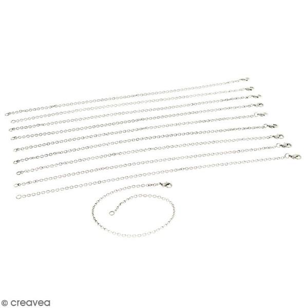 Lot de chaînes de bracelet - 21 cm - Argenté vieilli - 10 pcs - Photo n°1