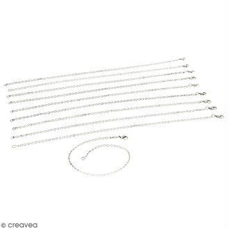 Lot de chaînes de bracelet - 21 cm - Argenté vieilli - 10 pcs