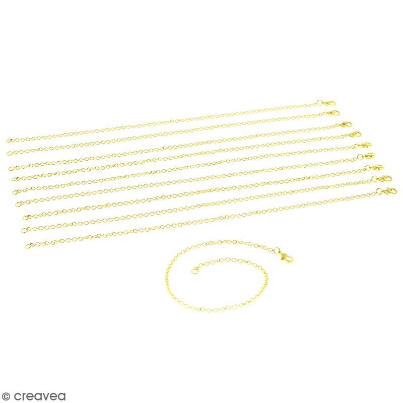 Lot de chaînes de bracelet - 20,5 cm - Doré - 10 pcs - Photo n°1