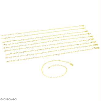 Lot de chaînes de bracelet - 20,5 cm - Doré - 10 pcs