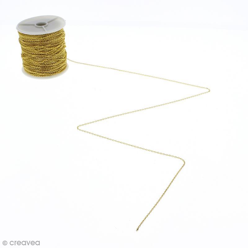 Chaîne maillons  1 mm - Doré - Au mètre (sur mesure) - Photo n°1