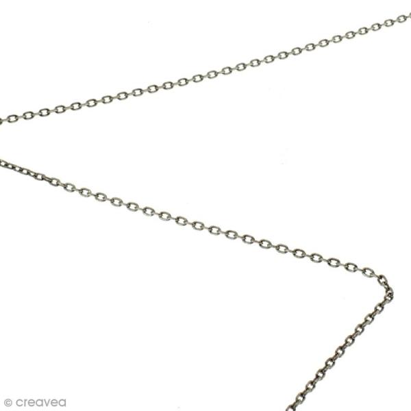 Chaîne maillons ovales  2 mm - Argenté vieilli - Au mètre (sur mesure) - Photo n°2