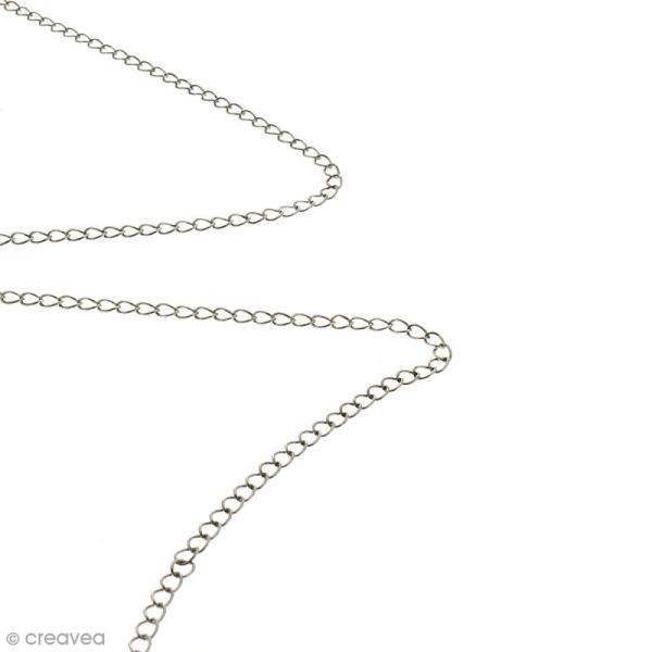 Chaîne maillons  ronds 3 mm - Argenté vieilli - Au mètre (sur mesure) - Photo n°2