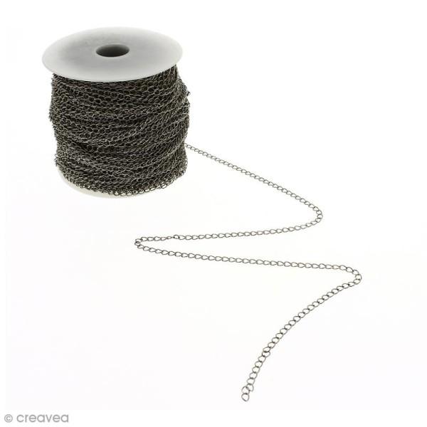 Chaîne maillons  ronds 3 mm - Argenté vieilli - Au mètre (sur mesure) - Photo n°1
