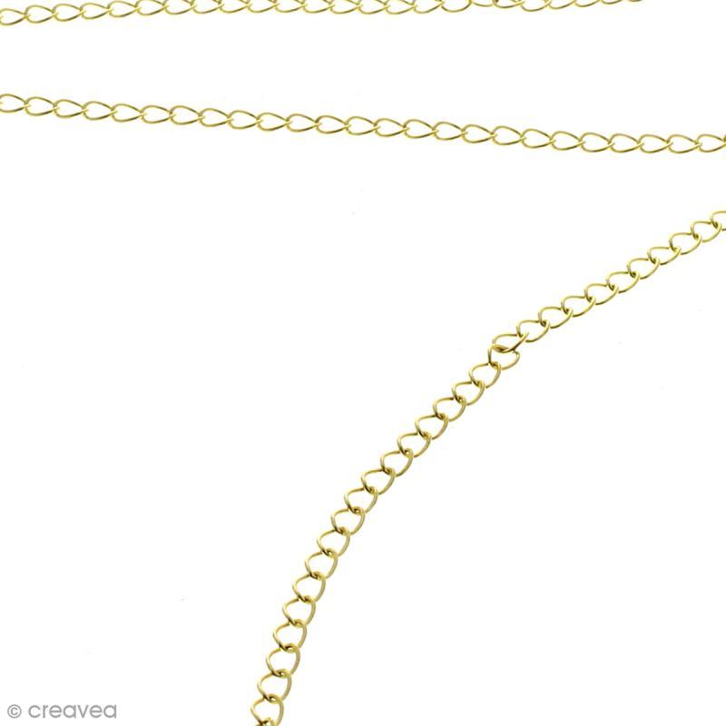 Chaîne maillons  ronds 3 mm - Doré - Au mètre (sur mesure) - Photo n°2