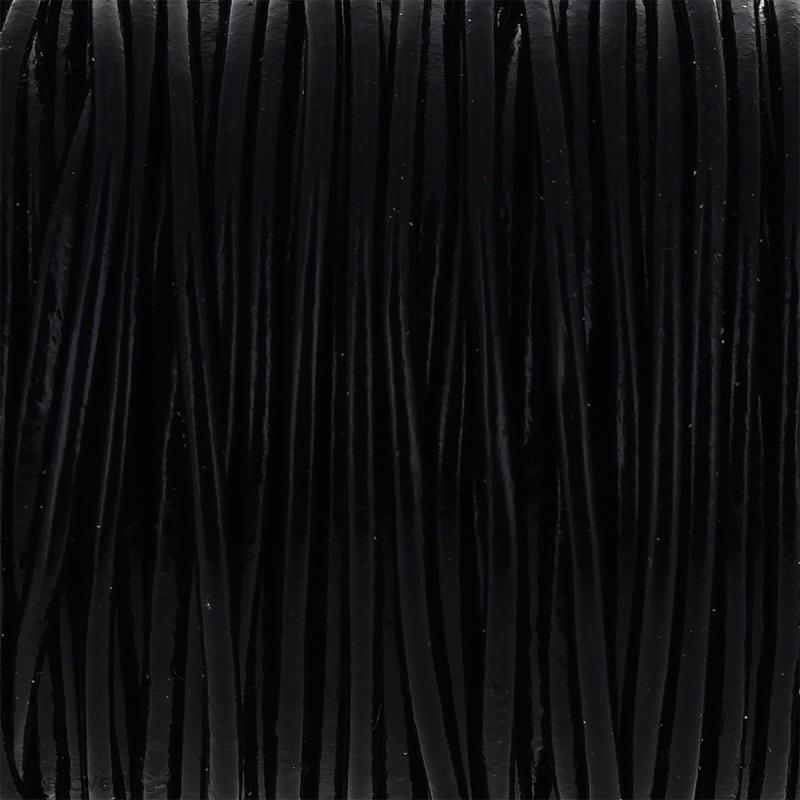 Fil en cuir Noir 2 mm - Au mètre (sur mesure) - Photo n°1