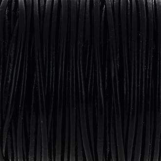 Fil en cuir Noir 2 mm - Au mètre (sur mesure)