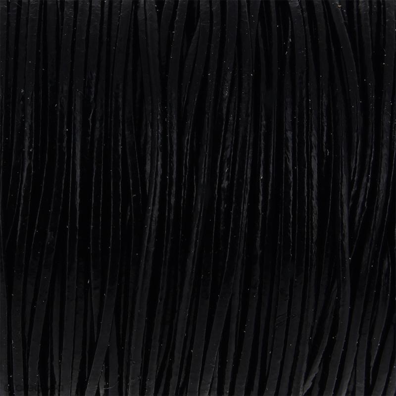 Fil en cuir Noir 1 mm - Au mètre (sur mesure) - Photo n°1