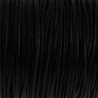 Fil en cuir Noir 1 mm - Au mètre (sur mesure)