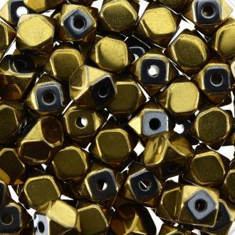 Perles hématites 4 mm plaqué or à facettes - Rondes - 100 pcs