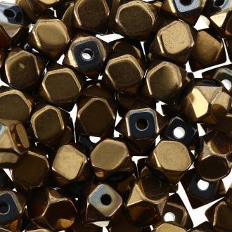 Perles hématites 4 mm cuivre plaqué à facettes - Rondes - 100 pcs