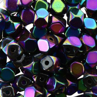 Perles hématites 4 mm multicolore plaqué à facettes - Rondes - 100 pcs
