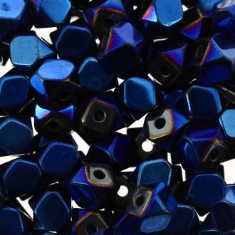 Perles hématites 4 mm bleu plaqué à facettes - Rondes - 100 pcs