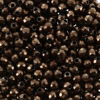 Perles hématites 2 mm cuivre plaqué à facettes - Rondes - 100 pcs