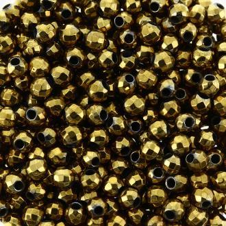Perles hématites 2 mm plaqué or à facettes - Rondes - 100 pcs