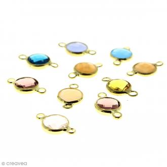 Breloques intercalaires Rondes - Pierres Strass multicolores - 15 x 9 mm - 10 pcs