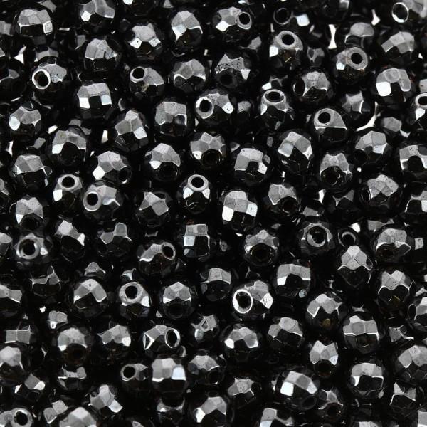 Perles hématites 2 mm noires à facettes - Rondes - 200 pcs - Photo n°1