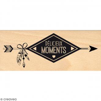 Tampon Bois Délicieux moments - 6 x 15 cm