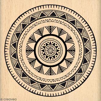Tampon Bois Cercle ethnique - 7 x 7 cm