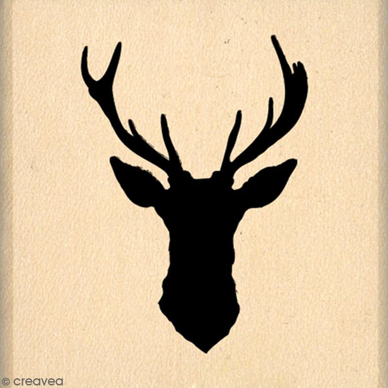 Tampon bois cerf silhouette 4 x 4 cm tampon bois creavea - Dessin tete de cerf ...