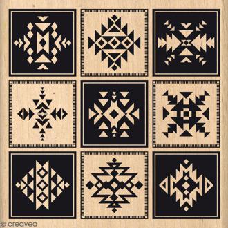 Tampon Bois Icônes ethniques - 8 x 8 cm