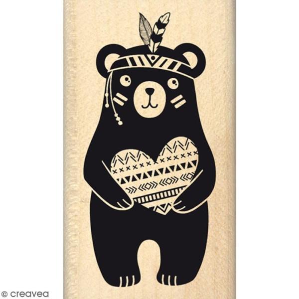 Tampon Bois Ourson au grand coeur - 4 x 7 cm - Photo n°1
