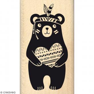 Tampon Bois Ourson au grand coeur - 4 x 7 cm