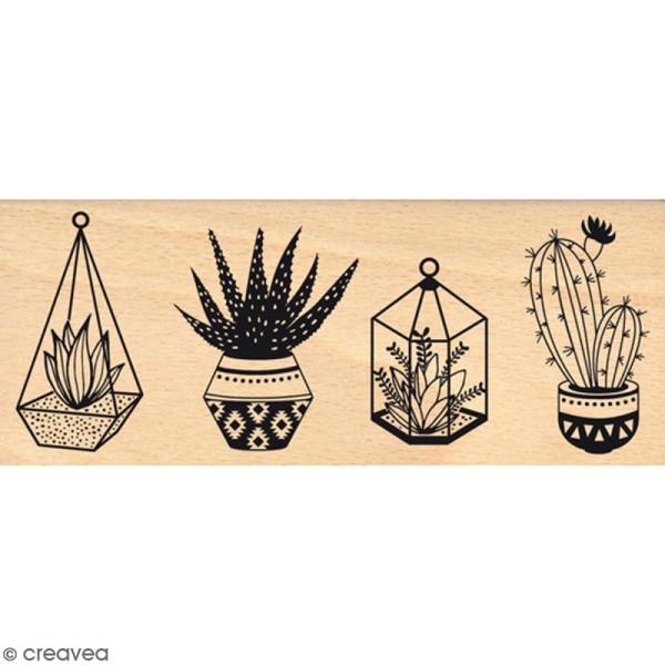 Tampon Bois Petites plantes - 6 x 15 cm - Photo n°1