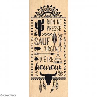 Tampon Bois Rien ne presse - 6 x 15 cm