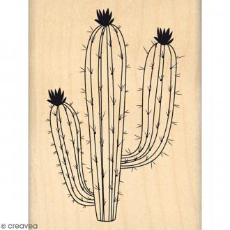 Tampon Bois Grand cactus - 6 x 8 cm