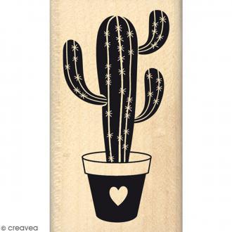 Tampon Bois Cactus d'amour - 4 x 7 cm