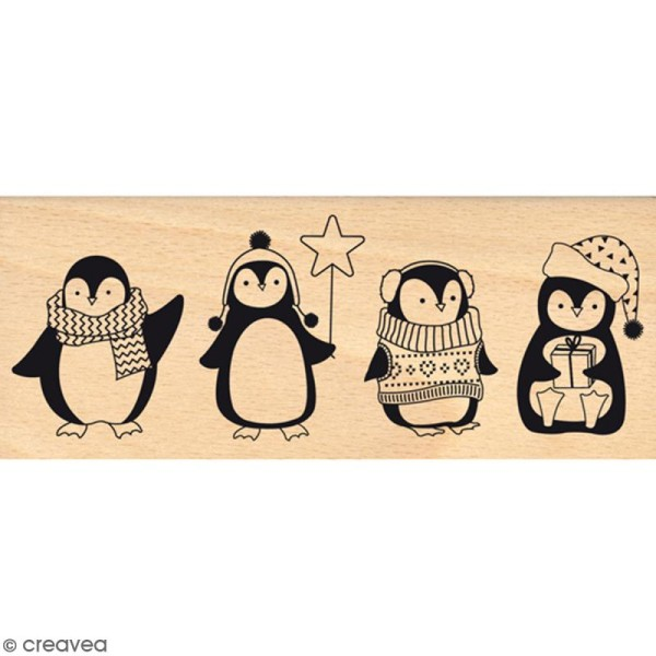 Tampon Bois Quatre pingouins - 6 x 15 cm - Photo n°1