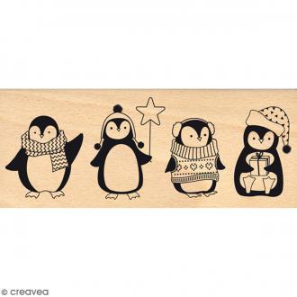 Tampon Bois Quatre pingouins - 6 x 15 cm