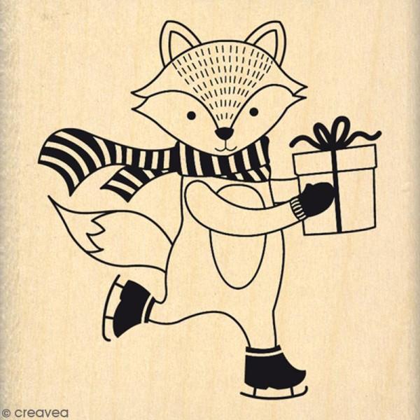 Tampon Bois Renard de Noël - 6 x 6 cm - Photo n°1