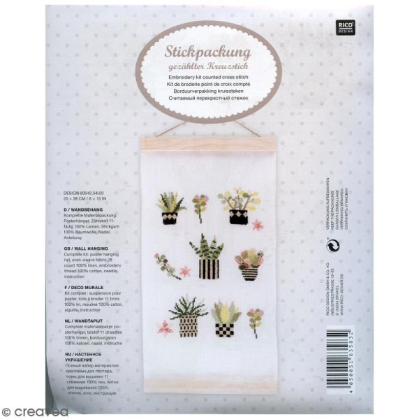 Kit de broderie avec suspension tenture - Succulentes - 20 x 38 cm - Photo n°1