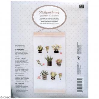 Kit de broderie avec suspension tenture - Succulentes - 20 x 38 cm