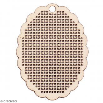 Pendentif Ovale en bois à broder - 6 x 8 cm