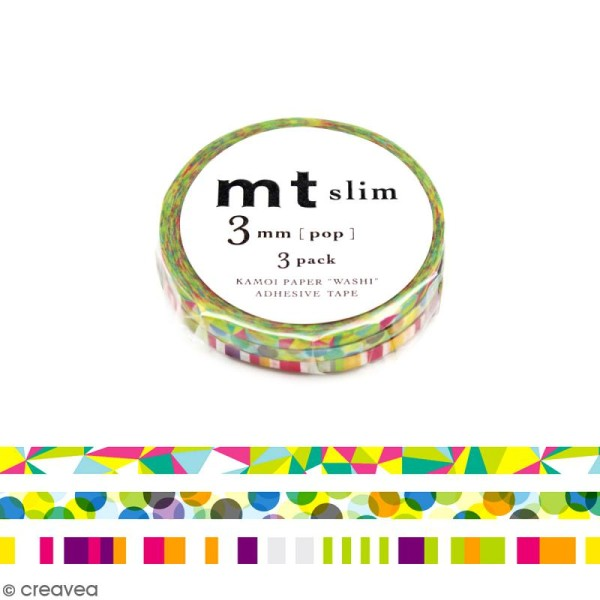 Assortiment Masking Tape Slim Pop - 3 rouleaux de 3 mm x 10 mètres - Photo n°1