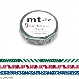 Masking tape Slim Lignes et pois - 3 mm x 10 m