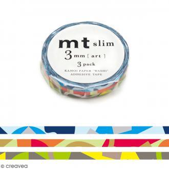 Assortiment Masking Tape Slim Mosaïque - 3 rouleaux de 3 mm x 10 mètres
