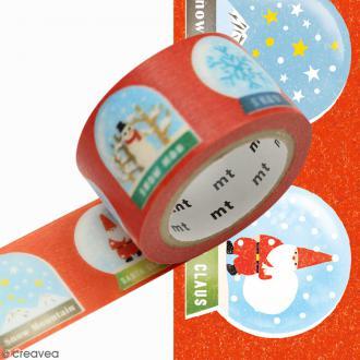 Masking tape Boules à neige - 2,5 cm x 7 m