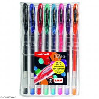 Pochette stylos roller gel Signo - Ecriture moyenne 0,7 mm - 8 coloris - 7 pcs